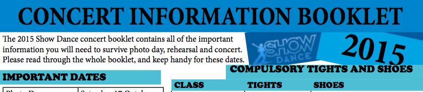 2015 Concert Information